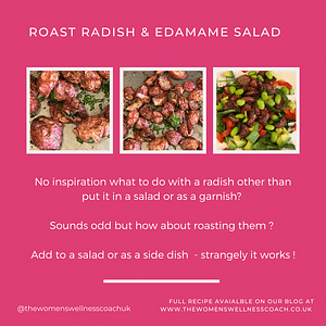 roasted radish and edamame salad