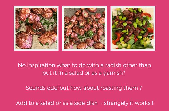 roasted radish and edamame salad